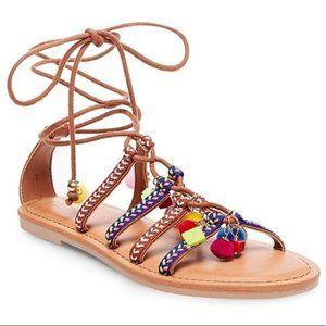 MOSSIMO Kayla Boho Pom Gladiator Lace Up Sandal
